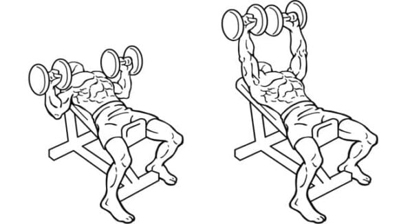 Inline Dumbbell Chest Press is one of the best dumbbell chest workouts.