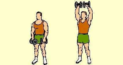 Shoulder exercises with dumbbells