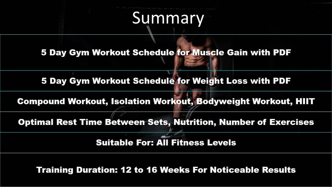 5 Day Gym Workout Schedule PDF