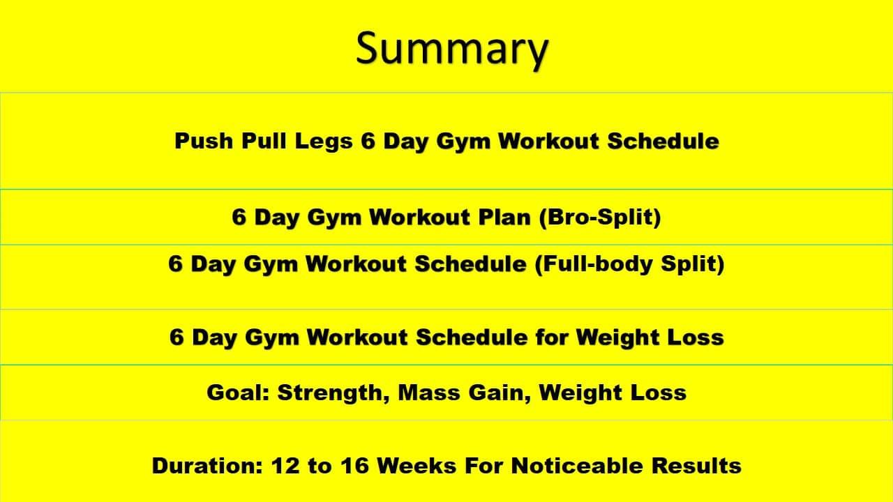 6 Day Gym Workout Schedule Summary