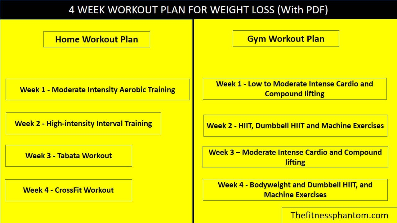 4 WEEK WORKOUT PLAN FOR WEIGHT LOSS (With PDF)