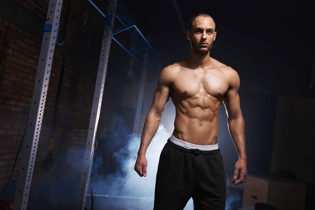 Man doing CrossFit workout at home without equipment